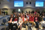 Journalism students waiting for the beginning of the ceremony.
