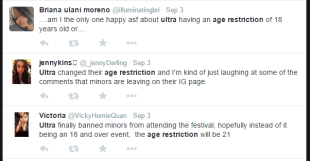Ultra fans took to Twitter to voice their opinion on Ultra's age restriction. To some, this seems like a better way to manage the festival. For others, this means they can no longer legally attend the event. COURTESY OF TWITTER